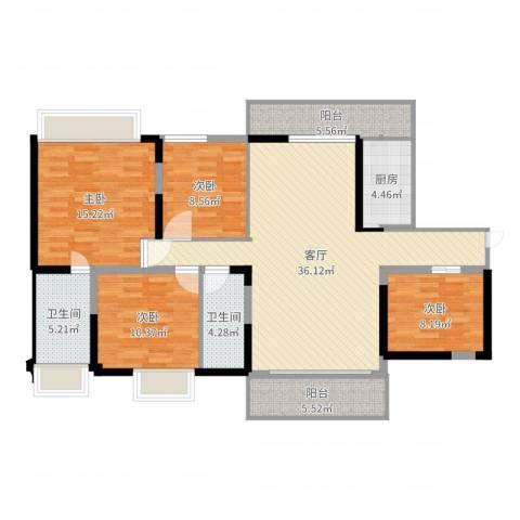 新世纪豪园添一居4室1厅2卫1厨129.00㎡户型图