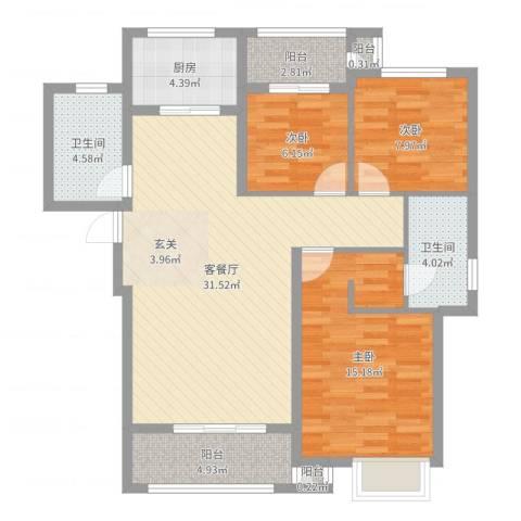 枫桦豪景3室2厅2卫1厨103.00㎡户型图