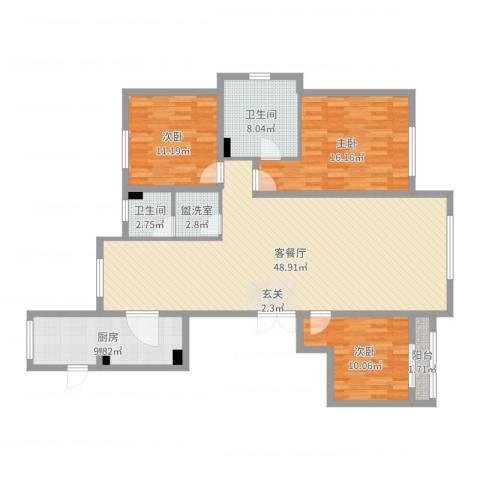 巨华世纪城二期和谐园3室2厅2卫1厨139.00㎡户型图