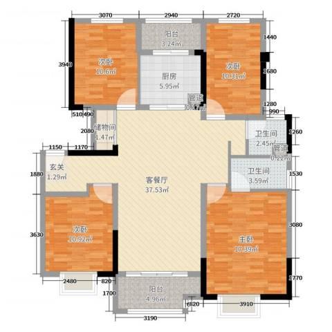 美的・公园天下4室2厅2卫1厨136.00㎡户型图