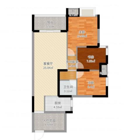 富川瑞园3室2厅1卫1厨98.00㎡户型图