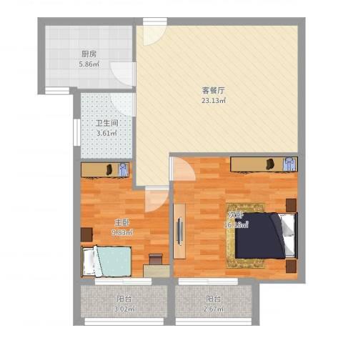 枫桥水岸2室2厅1卫1厨80.00㎡户型图