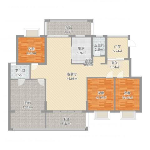 熊猫国际新城3室2厅2卫1厨168.00㎡户型图