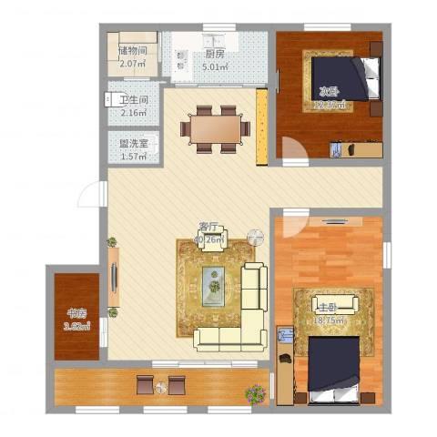 米东新城3室3厅1卫1厨116.00㎡户型图