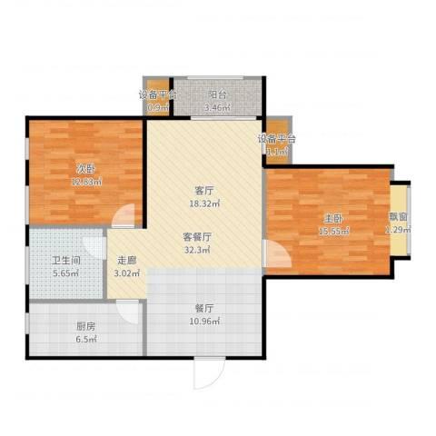 英伦假日2室2厅1卫1厨98.00㎡户型图