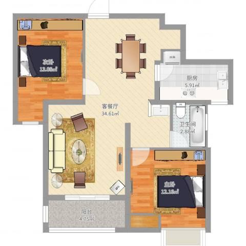 蓝天新苑2室2厅1卫1厨93.00㎡户型图