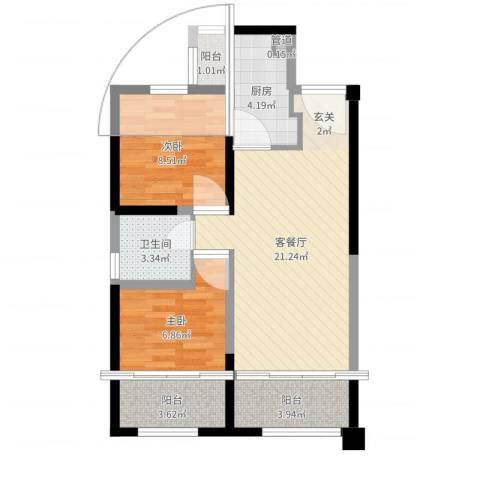 中铁・缇香郡2室2厅1卫1厨66.00㎡户型图