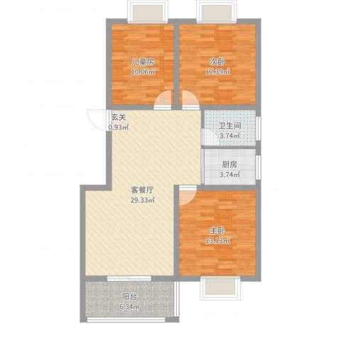 华林・灌南春天3室2厅1卫1厨98.00㎡户型图