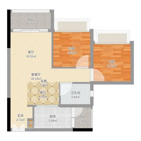 天荟公馆2室2厅1卫1厨73.00㎡户型图