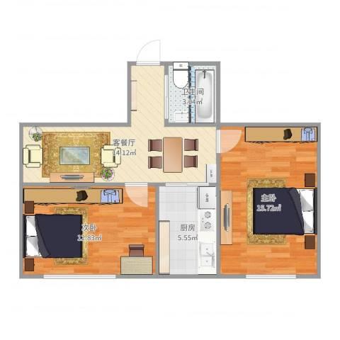 叙丰里2室2厅1卫1厨64.00㎡户型图