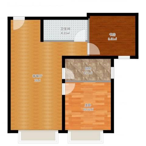 保利金香槟2室2厅1卫1厨67.00㎡户型图