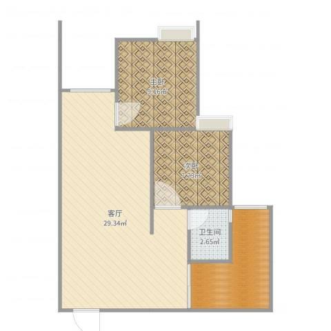 千山半岛国际2室1厅1卫1厨71.00㎡户型图
