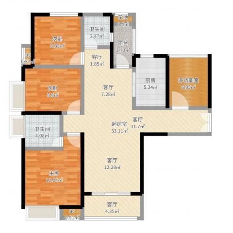 九策城雅居3室1厅2卫1厨112.00㎡户型图