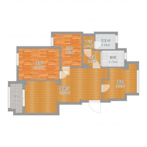 镇海锦绣曙光23幢202室3室2厅1卫1厨89.00㎡户型图