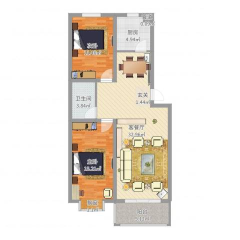永强苑2室2厅1卫1厨92.00㎡户型图