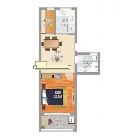 江城世家1室1厅1卫1厨55.00㎡户型图