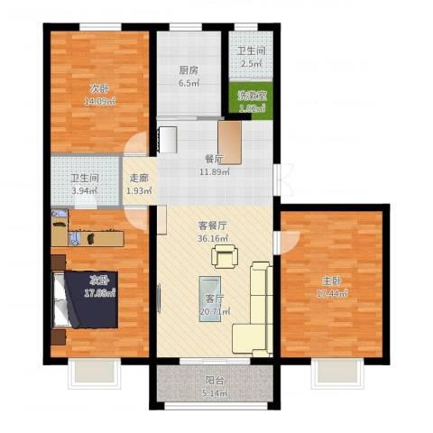 苏源聚福园3室2厅2卫1厨129.00㎡户型图