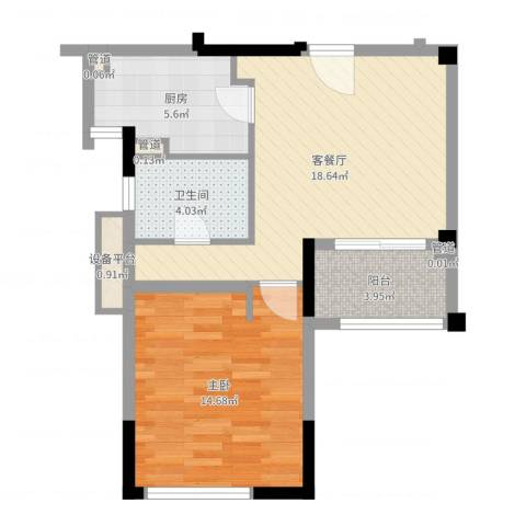华辰国际1室2厅1卫1厨60.00㎡户型图