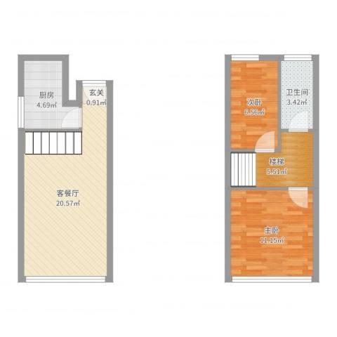 南天大厦一花园2室2厅1卫1厨65.00㎡户型图