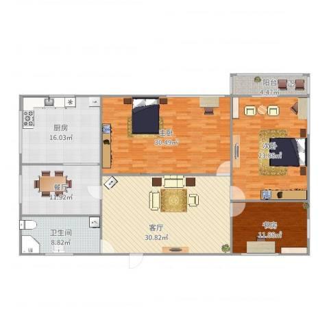 梵蒂冈的身高辅导书3室2厅1卫1厨173.00㎡户型图