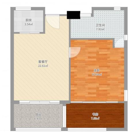 中信庐山西海2室2厅1卫1厨82.00㎡户型图
