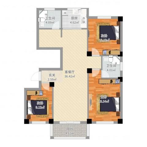 府锦花园3室2厅2卫1厨113.00㎡户型图