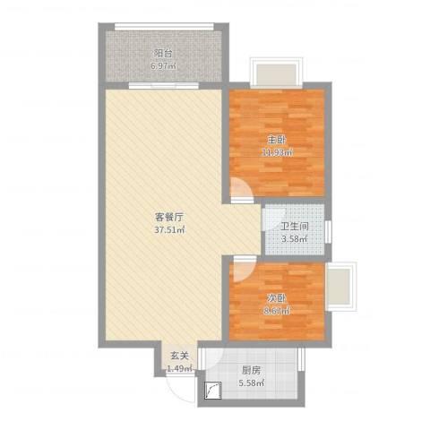 金秋怡源花园2室2厅1卫1厨93.00㎡户型图