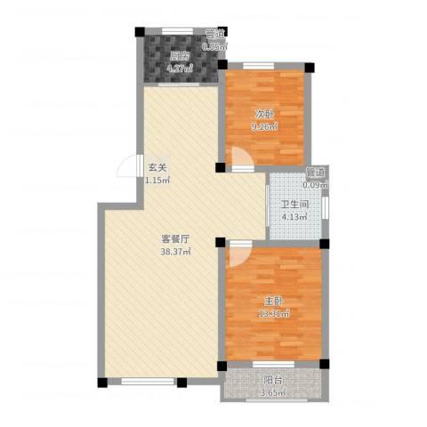 滨河郦都2室2厅1卫1厨91.00㎡户型图