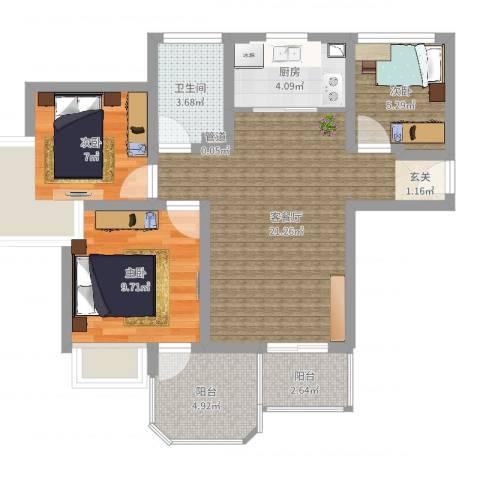 中梁英伦印象3室2厅1卫1厨73.00㎡户型图