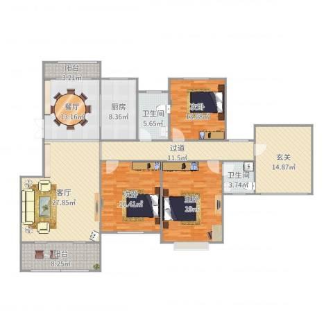 翰林世家3室2厅2卫1厨181.00㎡户型图