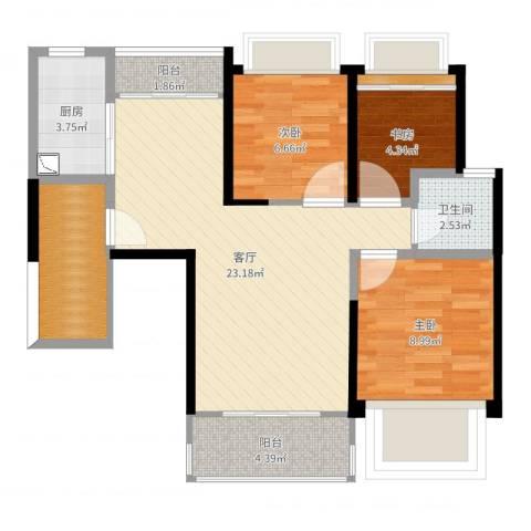 深业泰然观澜玫瑰苑3室1厅1卫1厨76.00㎡户型图