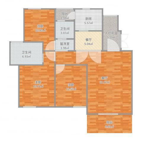 世纪城龙慈苑3室5厅2卫1厨125.00㎡户型图