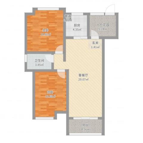 玉屏府2室2厅1卫1厨95.00㎡户型图