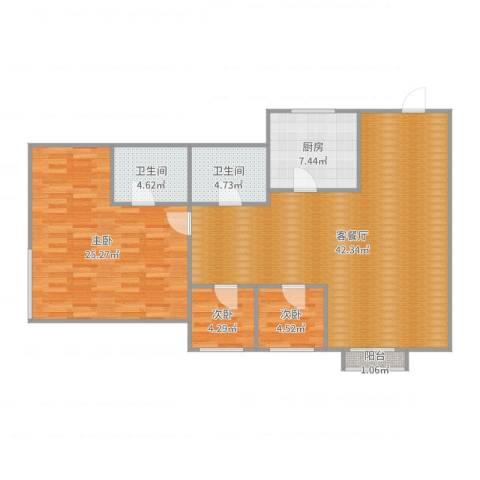 凯茵豪园3室2厅2卫1厨118.00㎡户型图