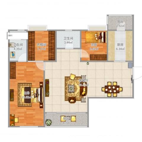 东方傲景峰2室2厅2卫1厨112.00㎡户型图