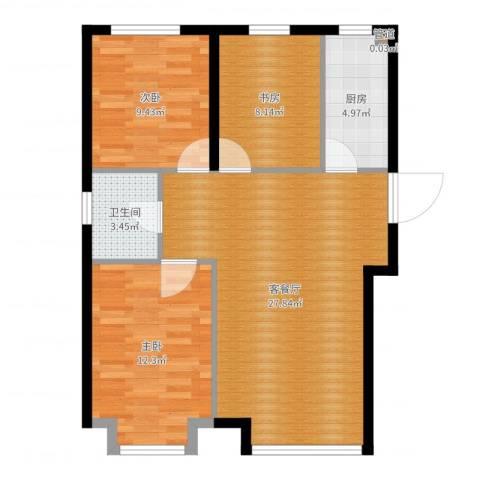 中国铁建·青秀尚城3室2厅1卫1厨83.00㎡户型图