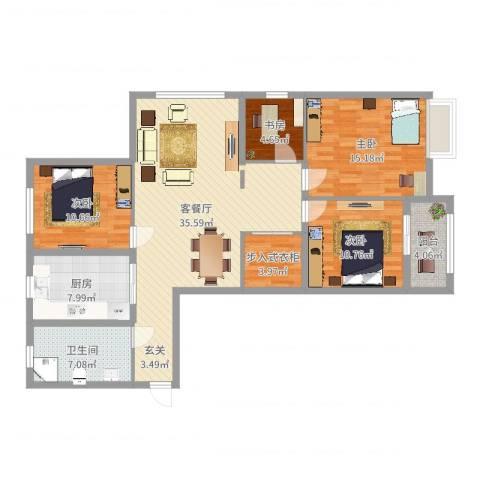 盛世明都4室2厅1卫1厨125.00㎡户型图