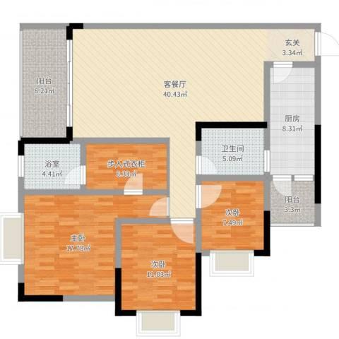 樽憬财富广场3室2厅1卫1厨140.00㎡户型图