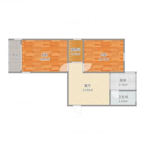 红波西里2室1厅1卫1厨62.00㎡户型图