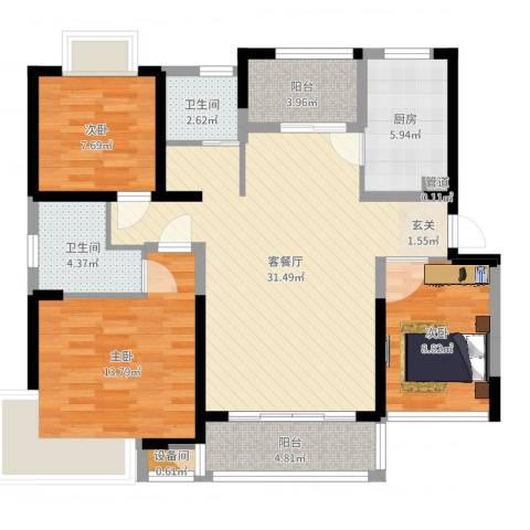 中凯城市之光3室2厅2卫1厨105.00㎡户型图