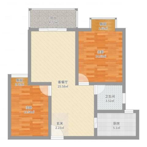 时代茗苑2室2厅1卫1厨81.00㎡户型图