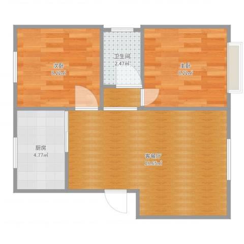 银亿阳光城2室2厅1卫1厨54.00㎡户型图