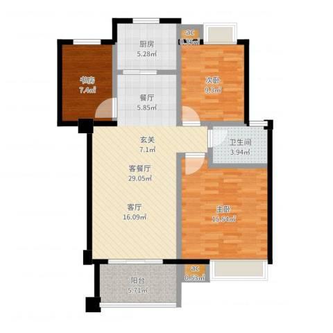 万达大湖公馆3室2厅1卫1厨96.00㎡户型图