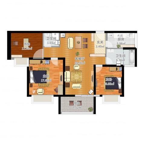华润中海凯旋门3室2厅2卫1厨124.00㎡户型图
