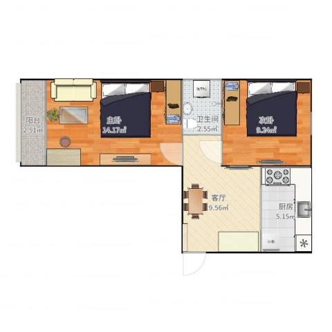 大井中里2室1厅1卫1厨54.00㎡户型图