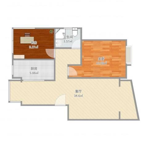 上大聚丰园2室1厅1卫1厨83.00㎡户型图