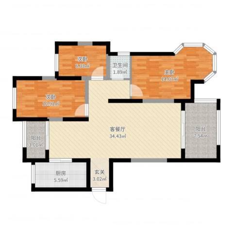 万成香格里拉3室2厅1卫1厨105.00㎡户型图