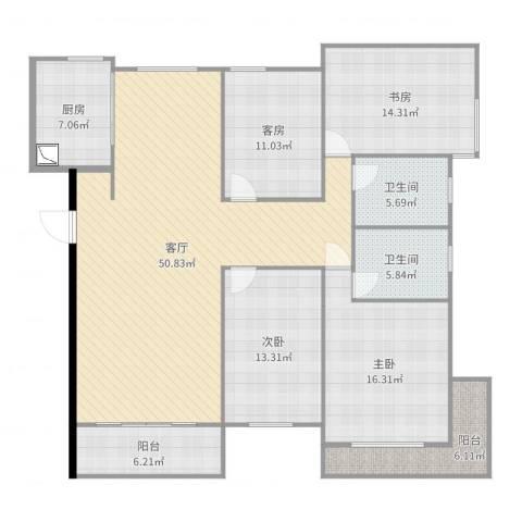 力高阳光海岸3室1厅2卫1厨171.00㎡户型图