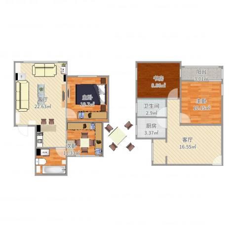 机场新村4室2厅1卫1厨112.00㎡户型图