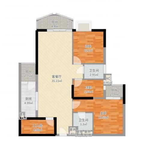 东方国际星座3室2厅2卫1厨114.00㎡户型图